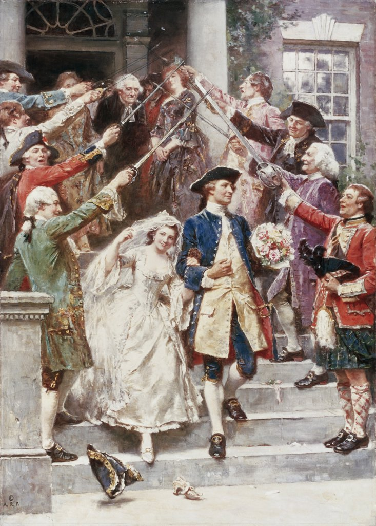 Here Comes the Bride, Wedding of Washington 1759 Jean Leon Gerome Ferris (1863-1930/American)  : Stock Photo