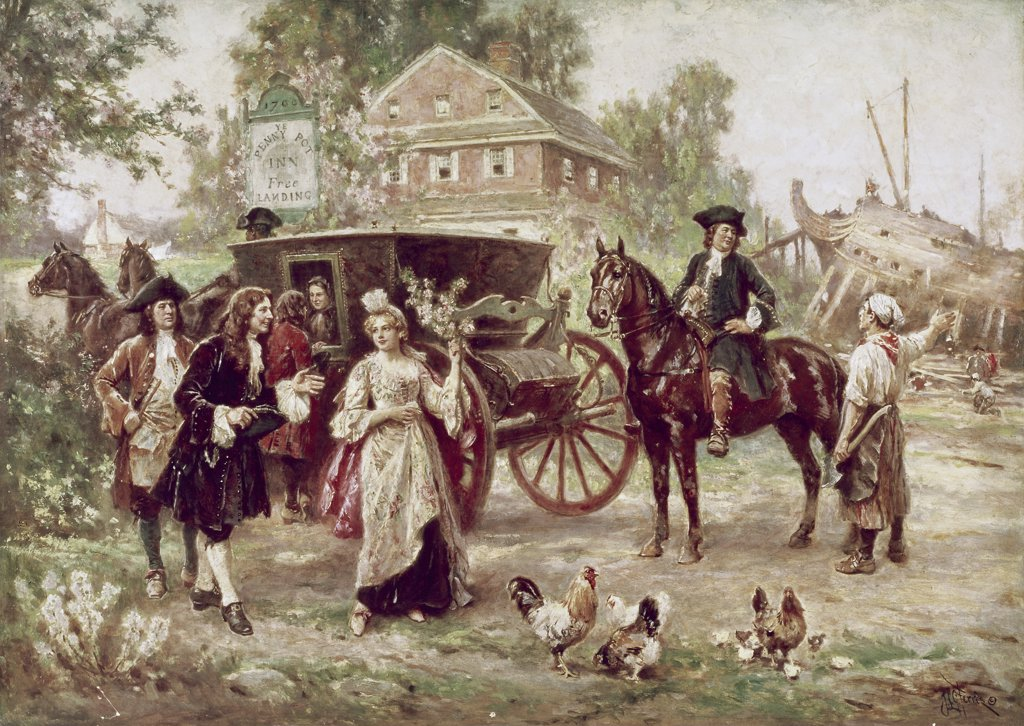 Stock Photo: 900-123121 On the Road to Penn's Manor, 1701