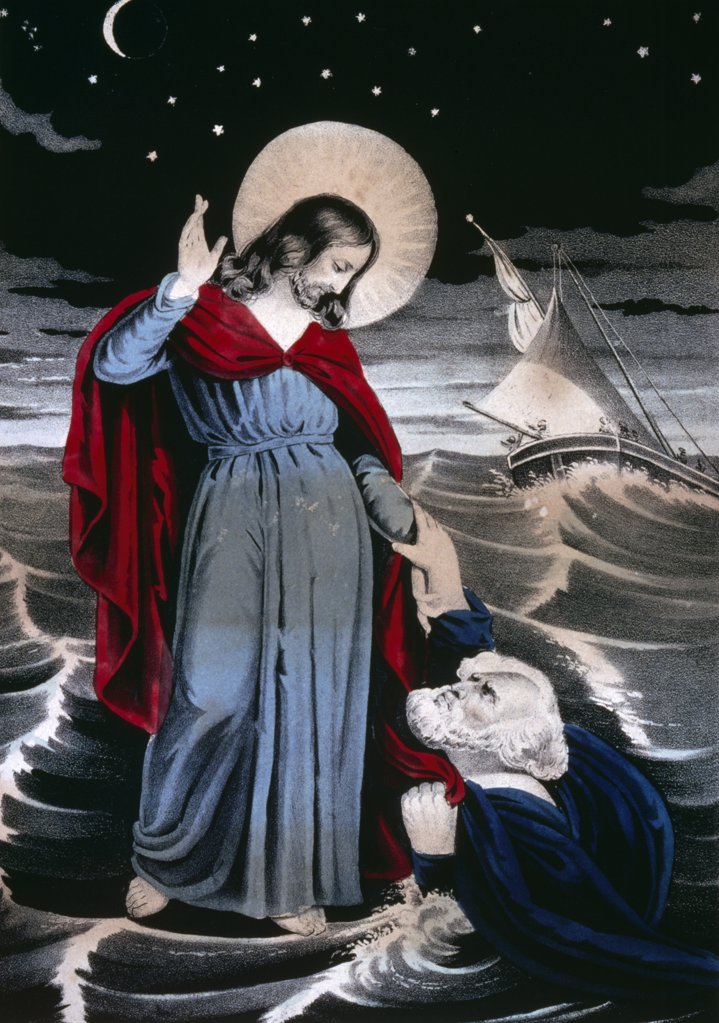 Stock Photo: 900-1245 Christ Walking on the Sea, Currier and Ives, color lithograph, (1857-1907), Washington, D.C., Library of Congress