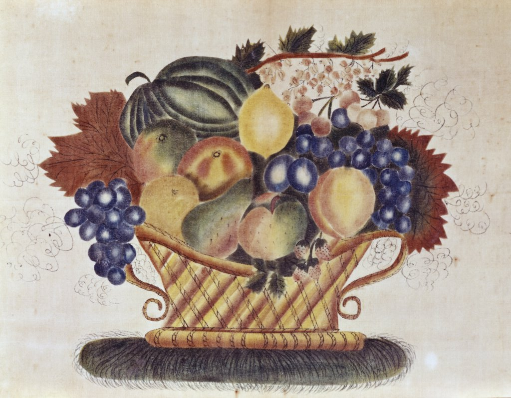 Stock Photo: 900-124789 Fruit-filled Basket, 19th C. Pennsylvania Dutch Artist Unknown Oil On Canvas