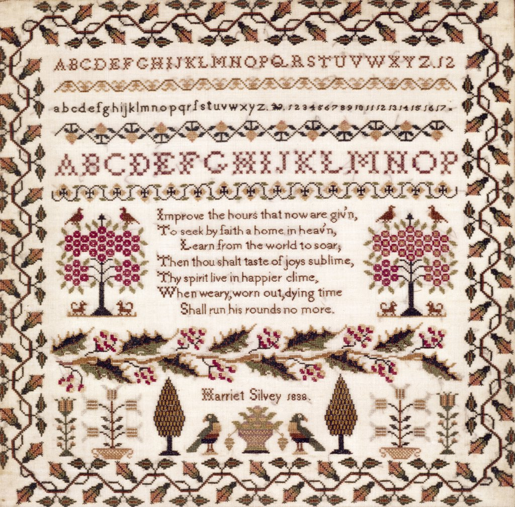 Stock Photo: 900-124794 Embroidered Sampler - 1834, 1838, Artist Unknown, TAPESTRY