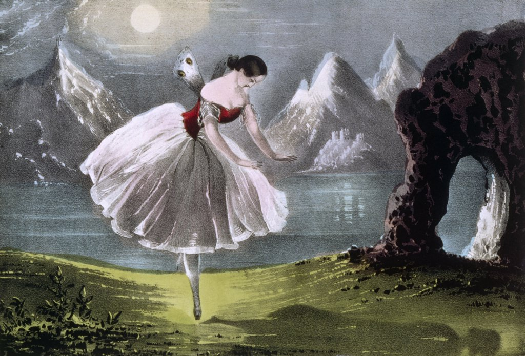 Stock Photo: 900-1248 Fanny Ellsler in the Shadow Dance, Currier and Ives, color lithograph, (1857-1907), Washington, D.C., Library of Congress