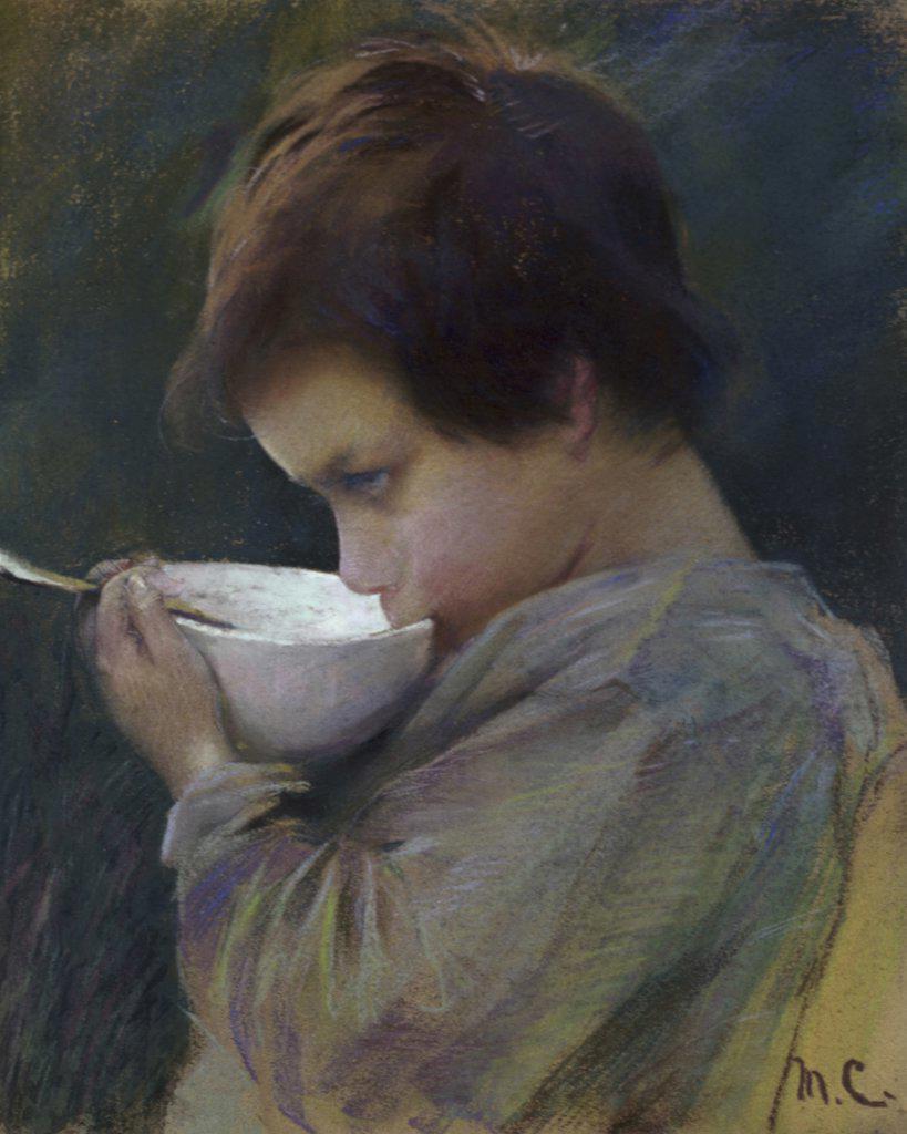 Stock Photo: 900-125108 Child Drinking Mary Cassatt (1844-1926/American)