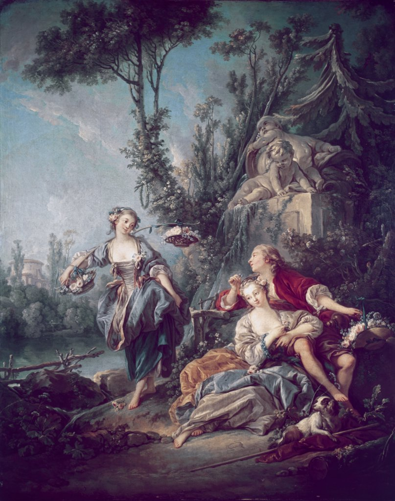 Stock Photo: 900-125406 The Flower Gatherers Francois Boucher (1703-1770 French)