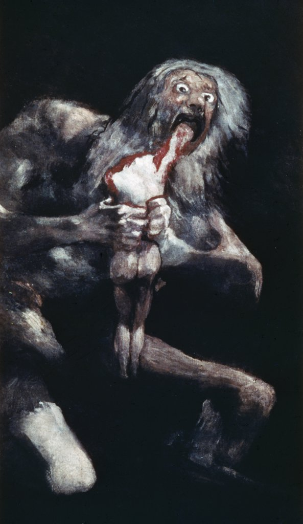 Saturn Devouring His Children by Francisco Goya y Lucientes,  fresco,  1819-1823,  (1746-1828),  Spain,  Madrid,  Museo del Prado : Stock Photo