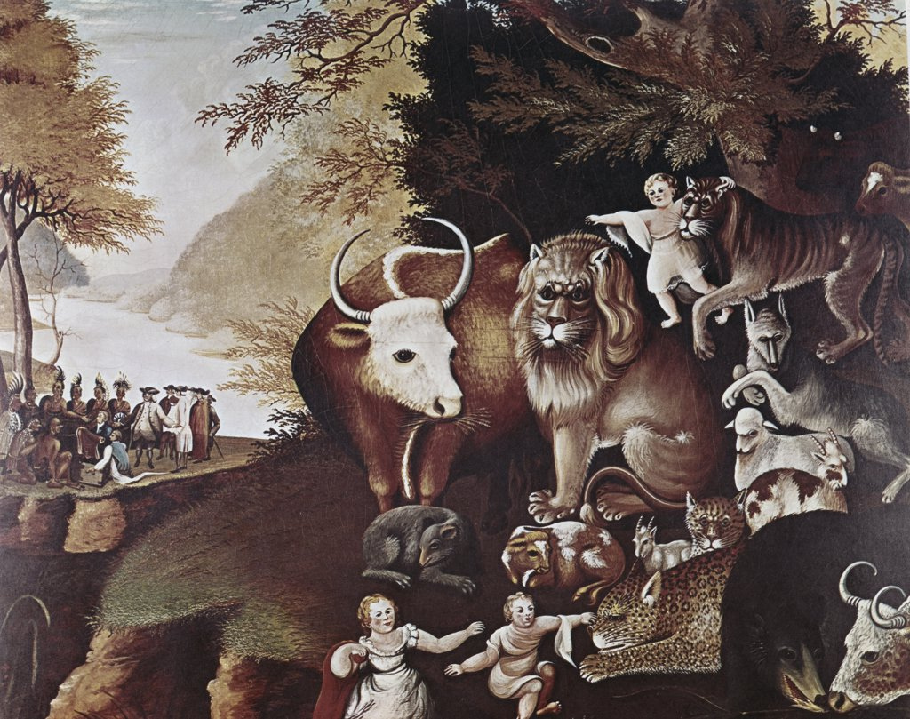 Stock Photo: 900-125824 The Peaceable Kingdom Edward Hicks (1780-1849 American)