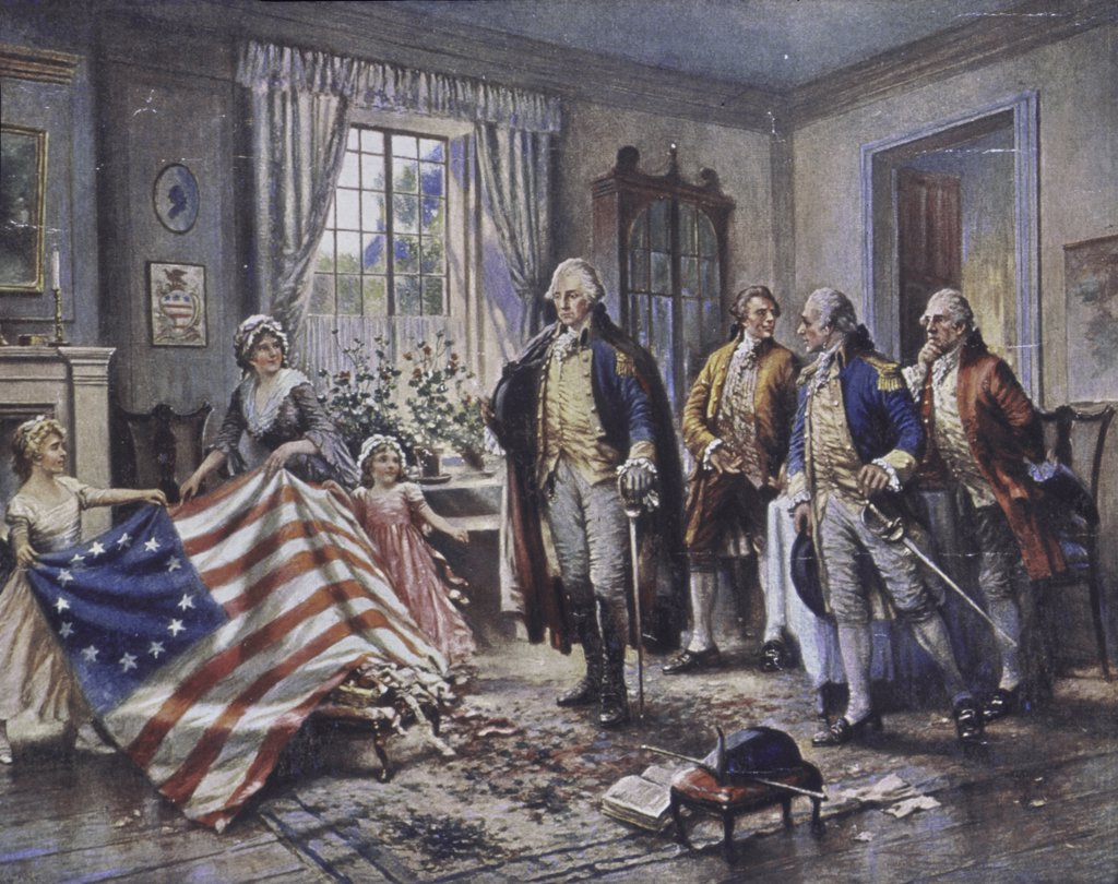 Stock Photo: 900-126685 Betsy Ross Shows Washington the Stars and Stripes Edward Percy Moran (1862-1935/American)
