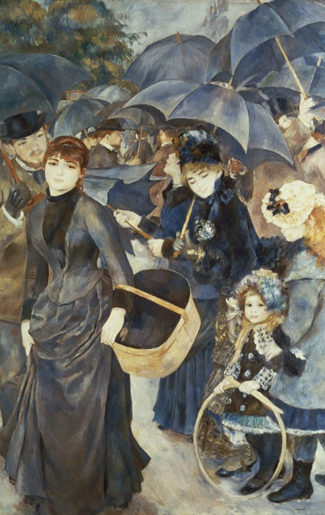 Stock Photo: 900-127483 The Umbrellas c. 1883 Pierre-Auguste Renoir (1841-1919 French) Oil on canvas National Gallery, London, England