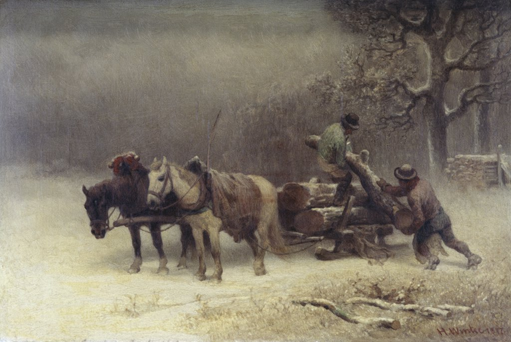Logging In Winter Heinrich Winter (1843-1911 German) : Stock Photo