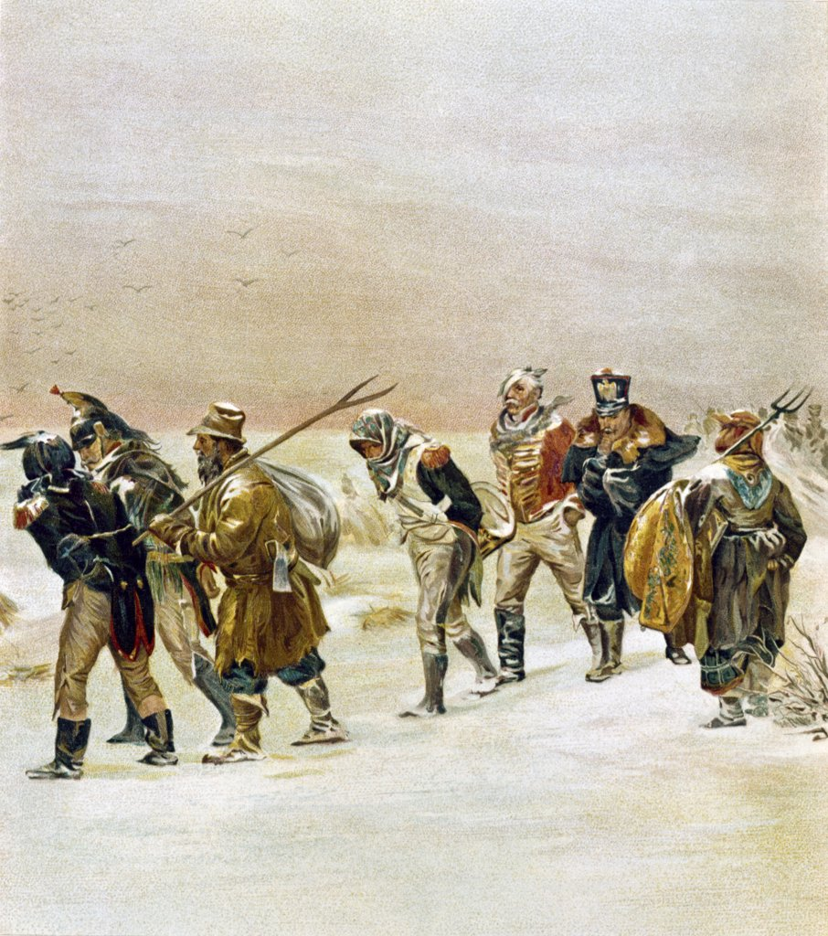 Stock Photo: 900-128184 French Army Retreating Westward in Russia, Prianichnikoff,  Illarion (1849-1894/Russian)