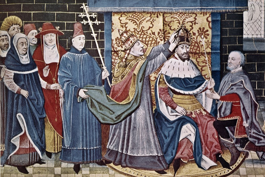 Stock Photo: 900-128253 Charlemagne Crowned by Pope Leo III, Dec. 25, 800