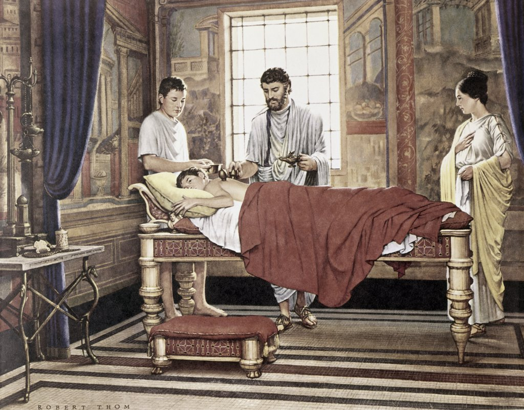 Greek Physician Galen Applying a Treatment of Cupping Robert Thom : Stock Photo