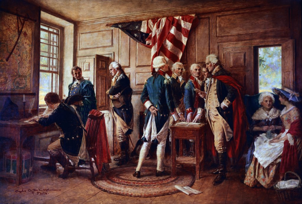 Stock Photo: 900-128424 Oath of Allegiance (George Washington and Officers) by Clyde O. Deland, 1872-1947
