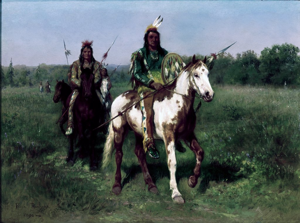 Stock Photo: 900-128651 Mounted Indians Carrying Spears