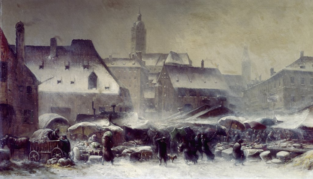 Marketplace in Munich, Winter by Anton Doll, (1826-1887) : Stock Photo