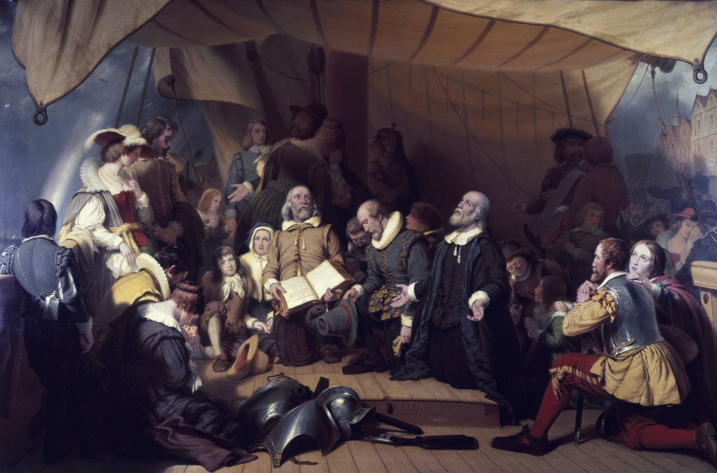 The Embarcation of the Pilgrims Robert Walter Weir (1803-1889 American) : Stock Photo