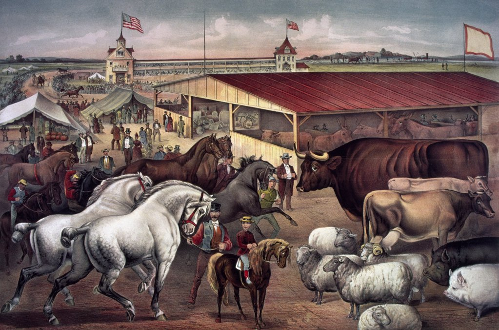 Stock Photo: 900-1313 Sights at the Fair Ground Currier & Ives (1834-1907 American) Color lithograph Library of Congress, Washington, D.C., USA