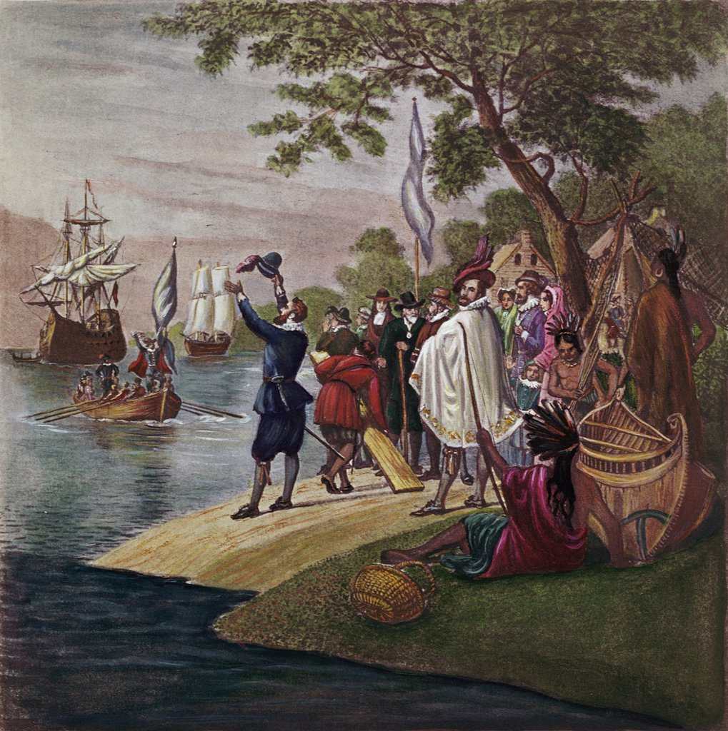 Stock Photo: 900-131489 Landing at Jamestown, 1607 17th Century English School
