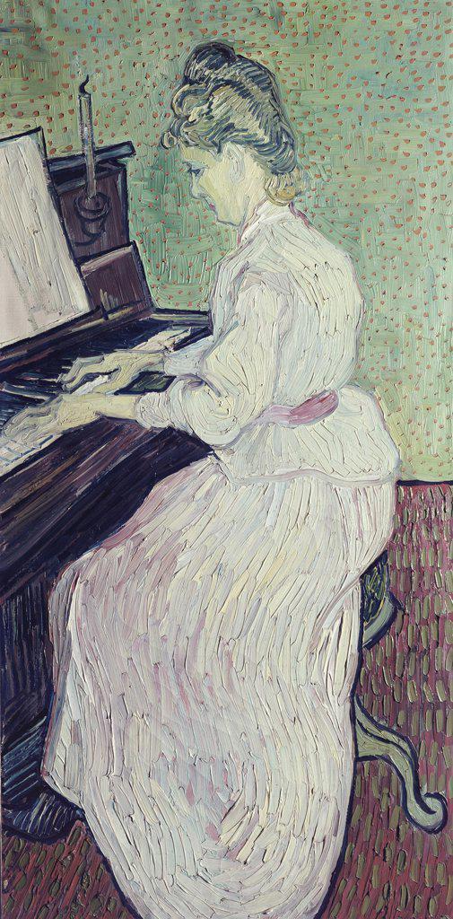 Marguerite Gachet at the Piano Vincent van Gogh (1853-1890/Dutch)  Kunstmuseum, Basel   : Stock Photo