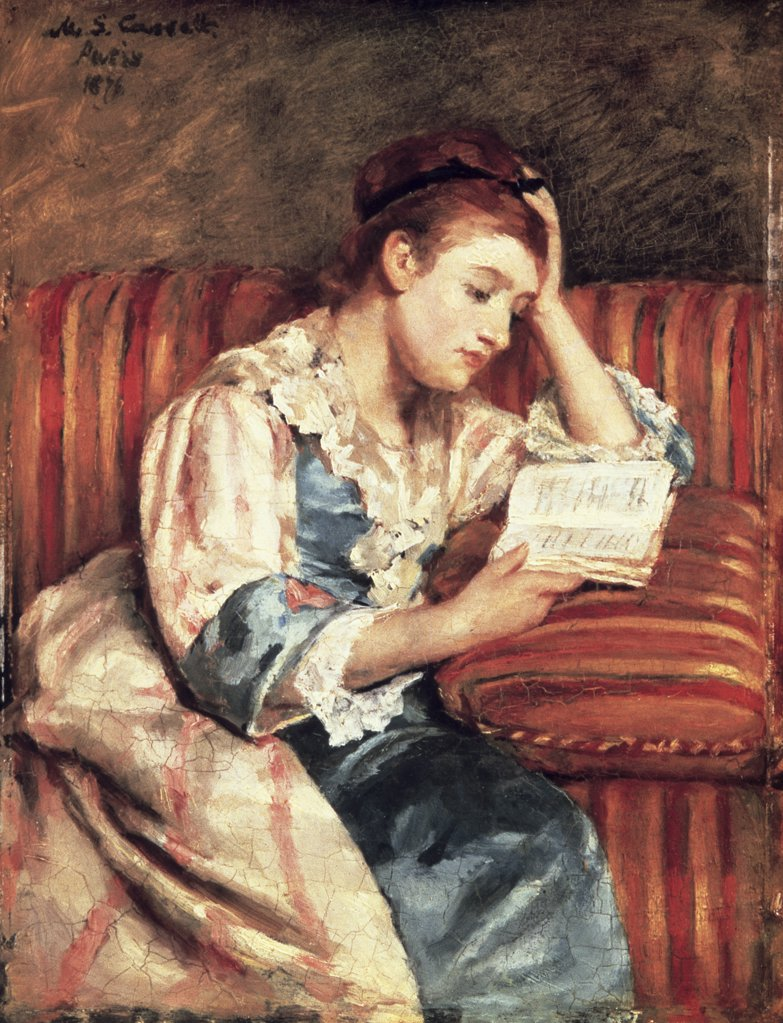 Stock Photo: 900-134170 Young Woman Reading  1876 Mary Cassatt (1845-1926 American) Oil on canvas Museum of Fine Arts, Boston, Massachusetts, USA