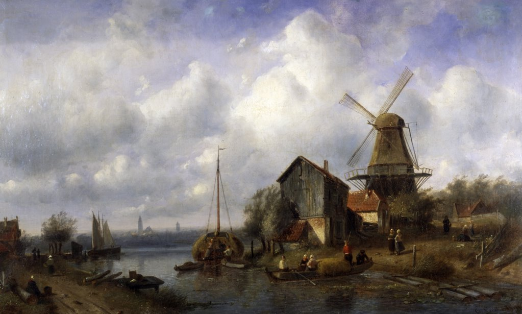 A Dutch Canal, by Charles Henri Joseph Leickert 1818-1907 : Stock Photo