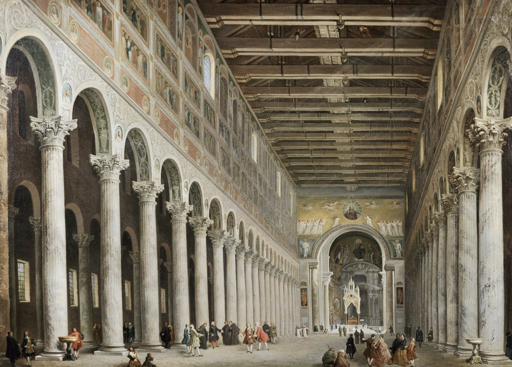 Stock Photo: 900-137120 Interior Of San Paolo Fuore Le Mure, Rome 