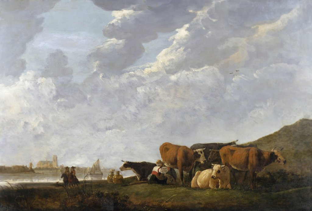 Stock Photo: 900-137138 River Landscape Near Dordrecht, Cuyp, Aelbert (1620-1691/Dutch)