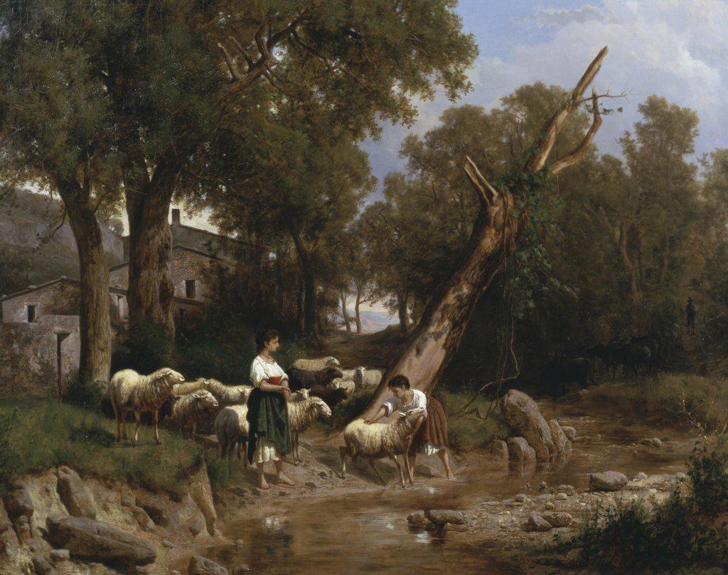 Stock Photo: 900-137334 Crossing The Stream András Markó (1824-1895 Hungarian)