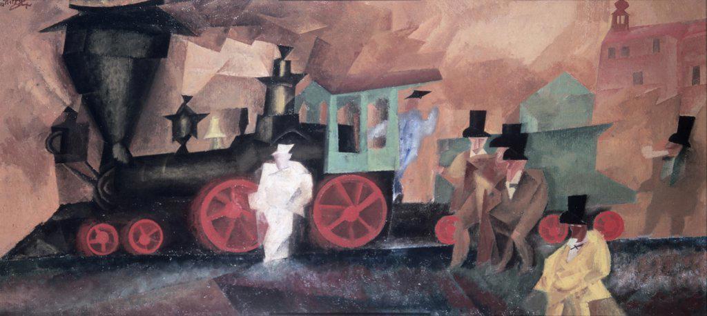 Stock Photo: 900-137522 Old Locomotive by Lyonel Feininger, 1871-1956