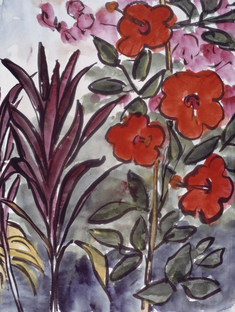 Stock Photo: 900-138925 Plant Study In New Guinea by Emil Nolde, 1867-1956