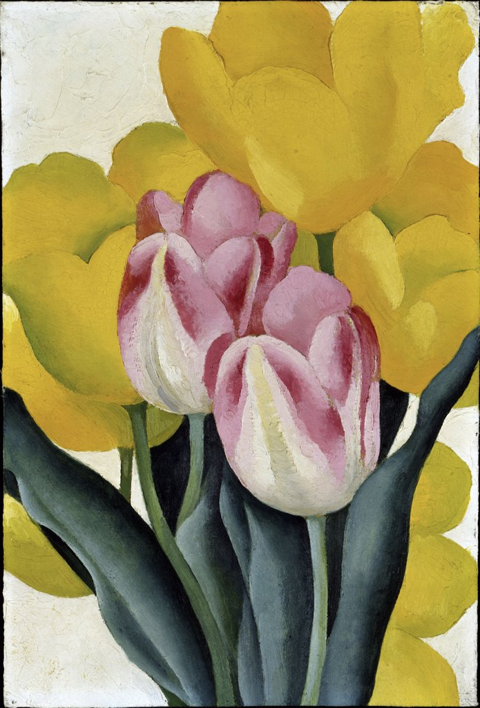 Stock Photo: 900-141125 Tulips: Pink and Yellow by Georgia O'Keeffe, oil on cardboard, 1887-1986