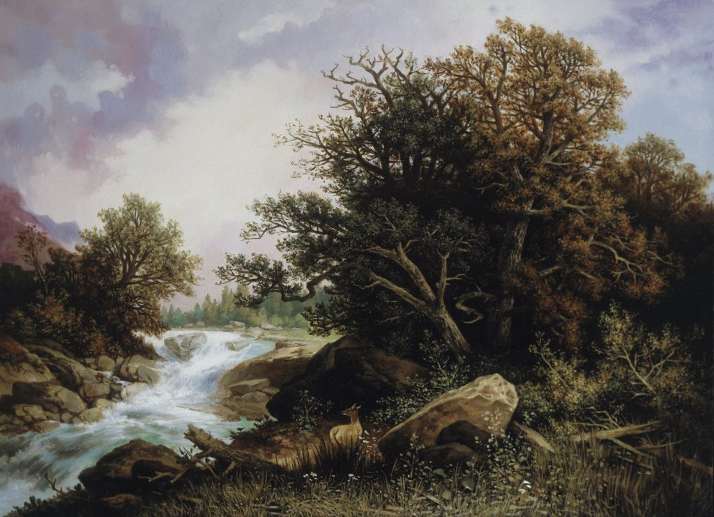 Stock Photo: 900-141921 Deer Near A Stream Carl Hasch (1834-1897 German)