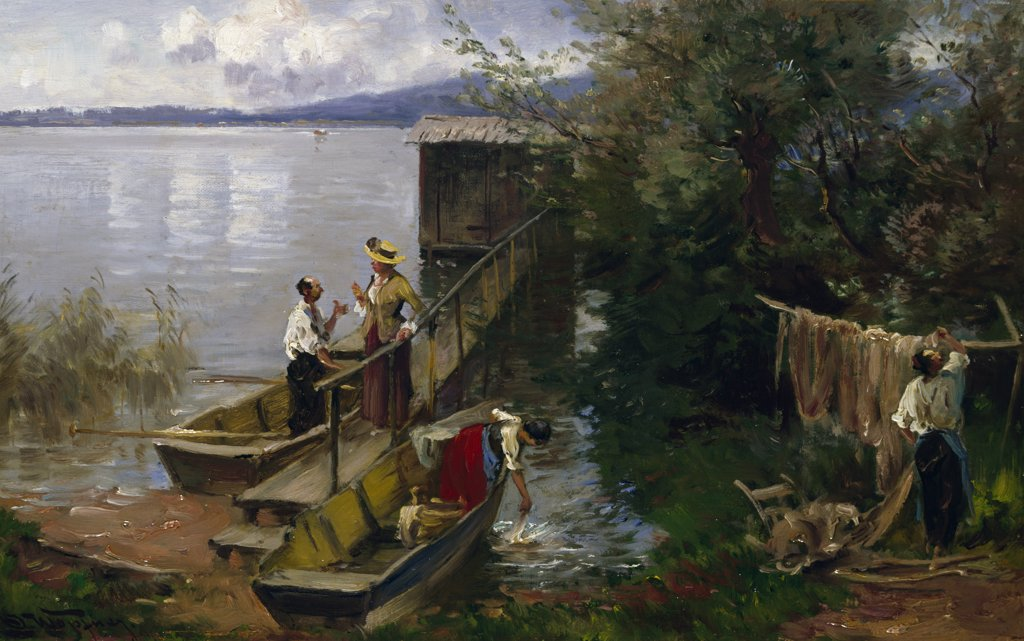 Ferry at Chiemsee by Joseph Wopfner,  (1843-1927) : Stock Photo