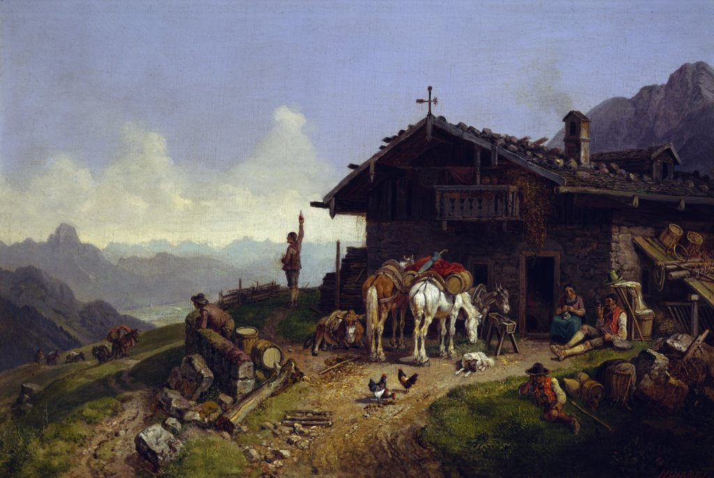 Stock Photo: 900-143315 Mountain Cabin by Heinrich Burkel,  painted image,  (1802-1869)