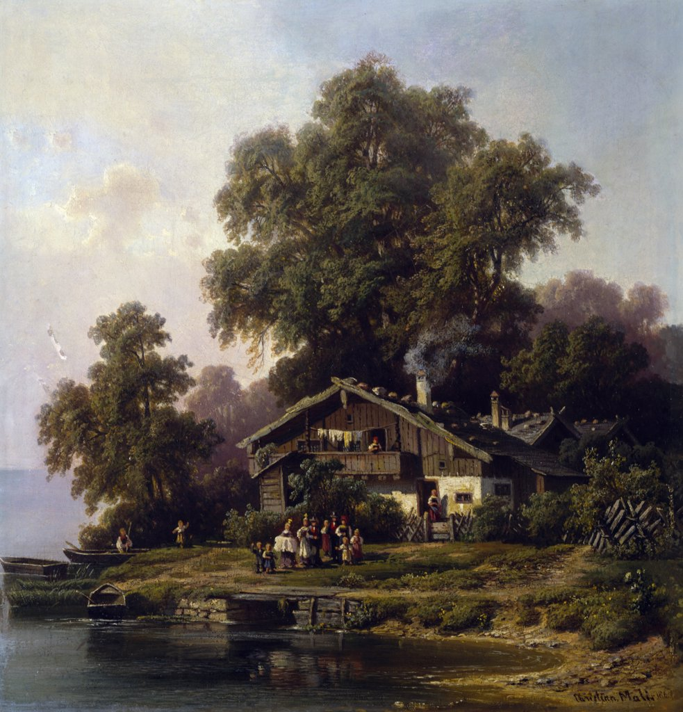 Stock Photo: 900-143316 Peasant's House by Christian Friedrich Mali,  painted image,  1860,  (1832-1906)