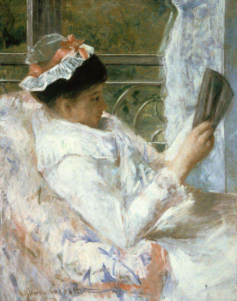 Stock Photo: 900-143579 The Reader  Mary Cassatt (1845-1926 American) Oil on canvas