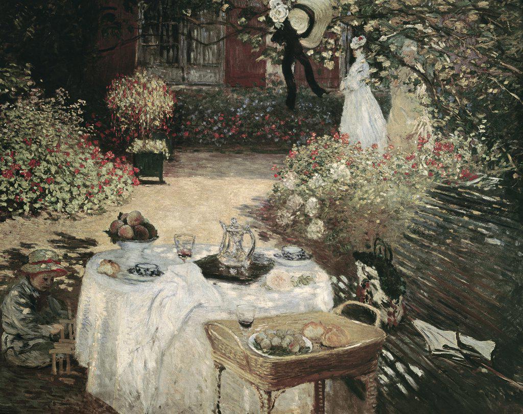 Stock Photo: 900-143692 The Luncheon 1872-76 Claude Monet (1840-1926 French) Jeu de Paume, Louvre, Paris, France