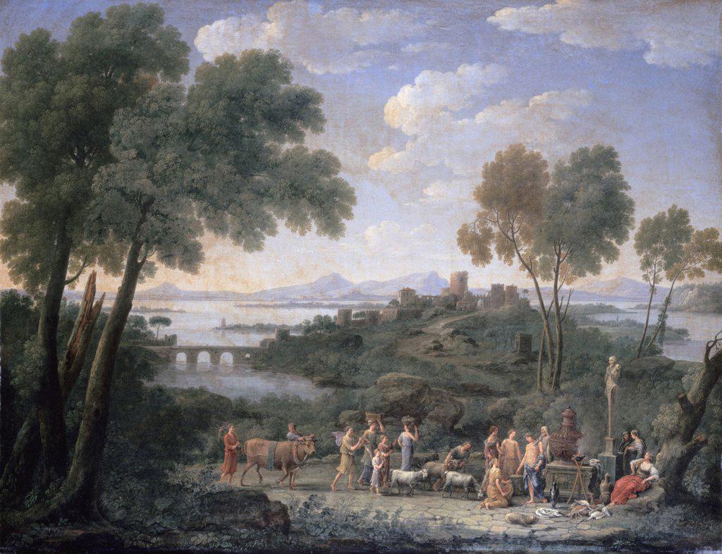 Stock Photo: 900-143736 Italian Landscape with Sacrifice Hendrik Frans van Lint (active 1640/Flemish)
