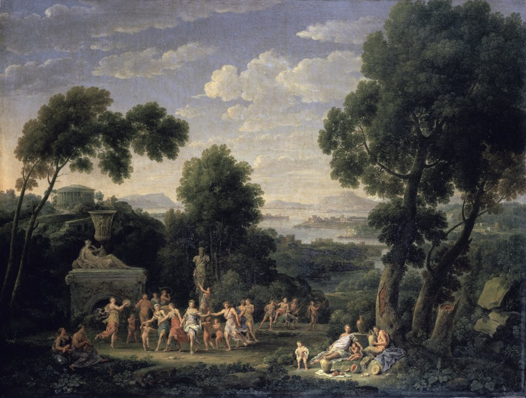 Stock Photo: 900-143737 A Wooded Italianate Landscape with Dancing Nymphs  