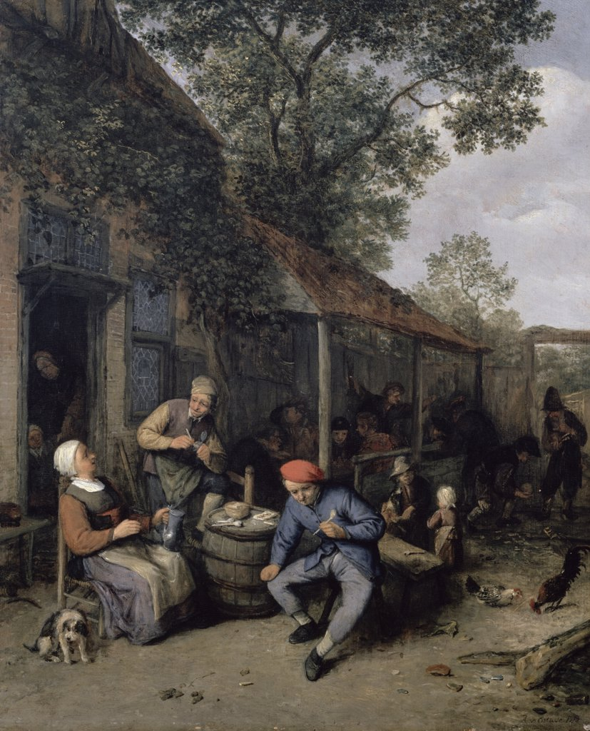 Peasants Smoking and Feasting Outside a Tavern