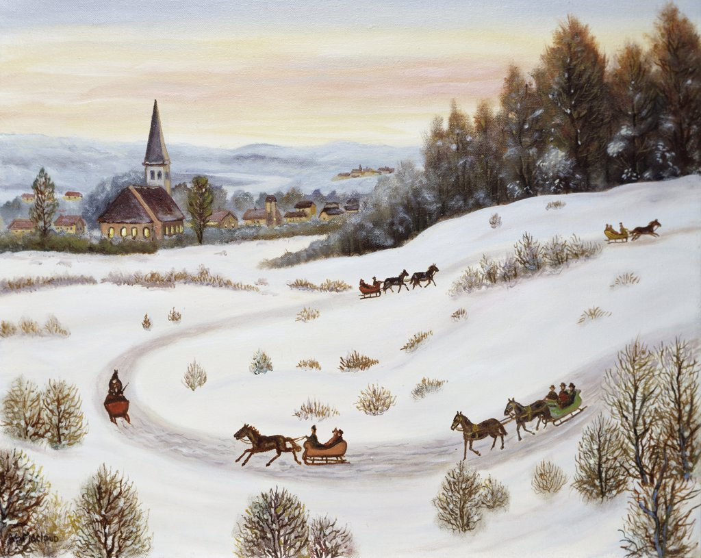 Stock Photo: 900-143821 Joyous Sleigh Ride V. MacLoud (20th C.) Oil On Canvas