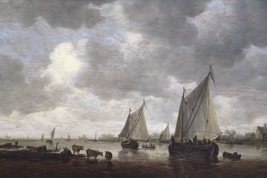 Stock Photo: 900-144448 Canal in Holland by Jan van Goyen,  painted image,  (1596-1656)