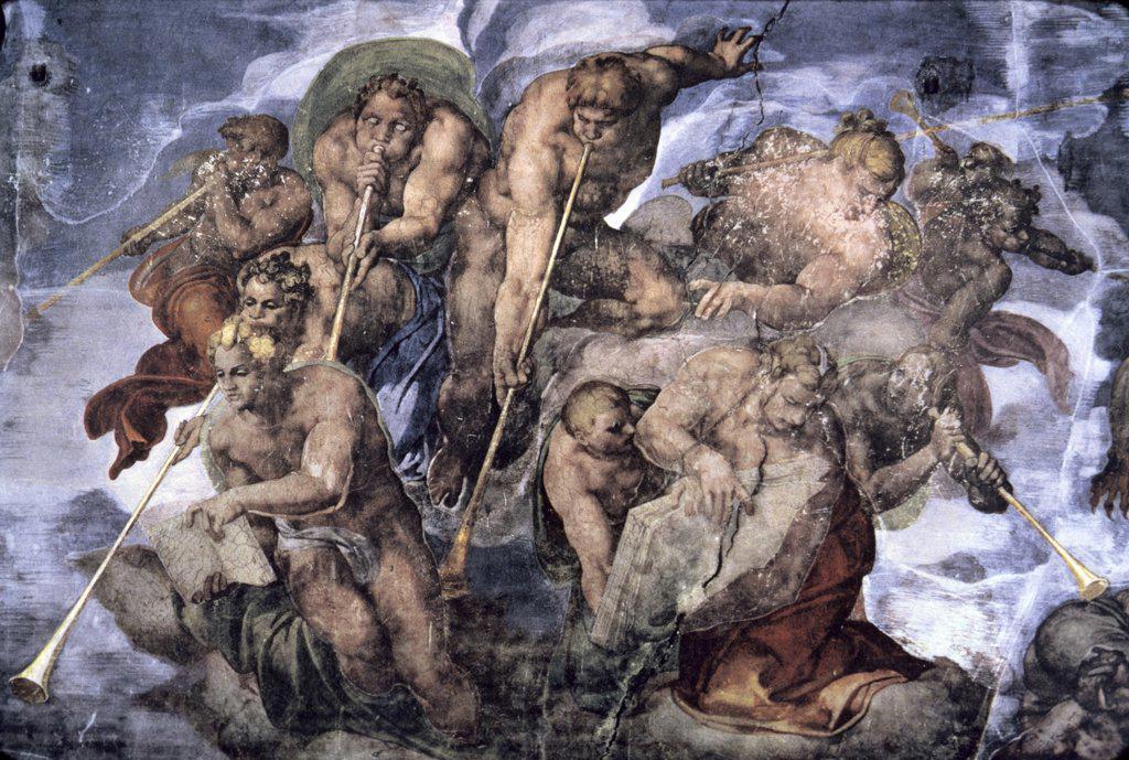 Stock Photo: 900-145370 The Last Judgement  (Detail)  c.1536-1541  Michelangelo Buonarroti (1475-1564/Italian) Fresco   Sistine Chapel, Vatican