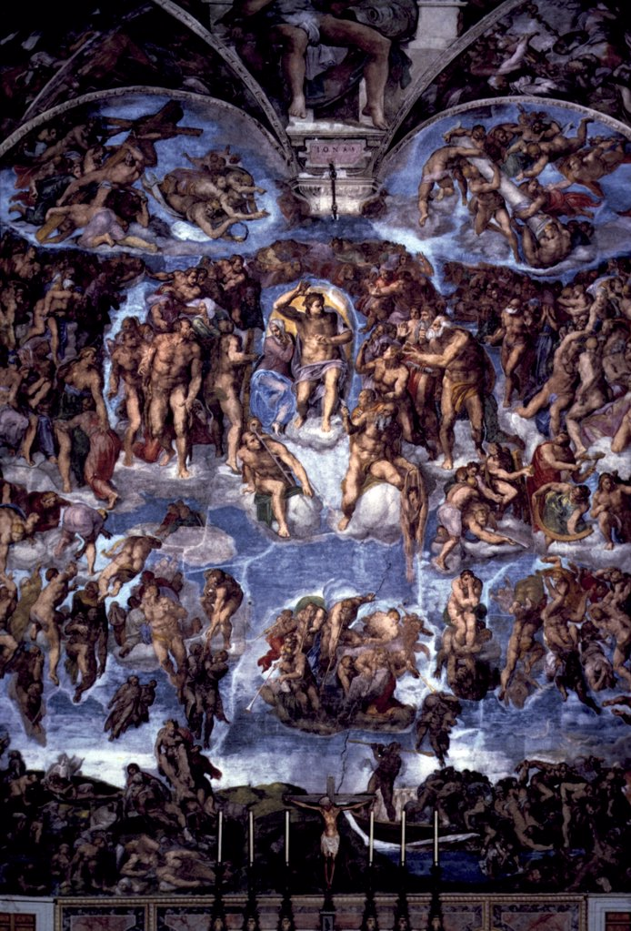 The Last Judgment, fresco by Michelangelo Buonarroti 1475-1564, Italy, Vatican City, Sistine Chapel, Circa 1536-41 : Stock Photo