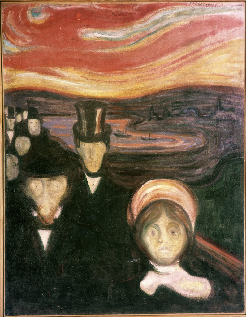 Anxiety by Edvard Munch, oil on canvas, 1894, 1863-1944 Norway, Oslo, Munch Museum : Stock Photo