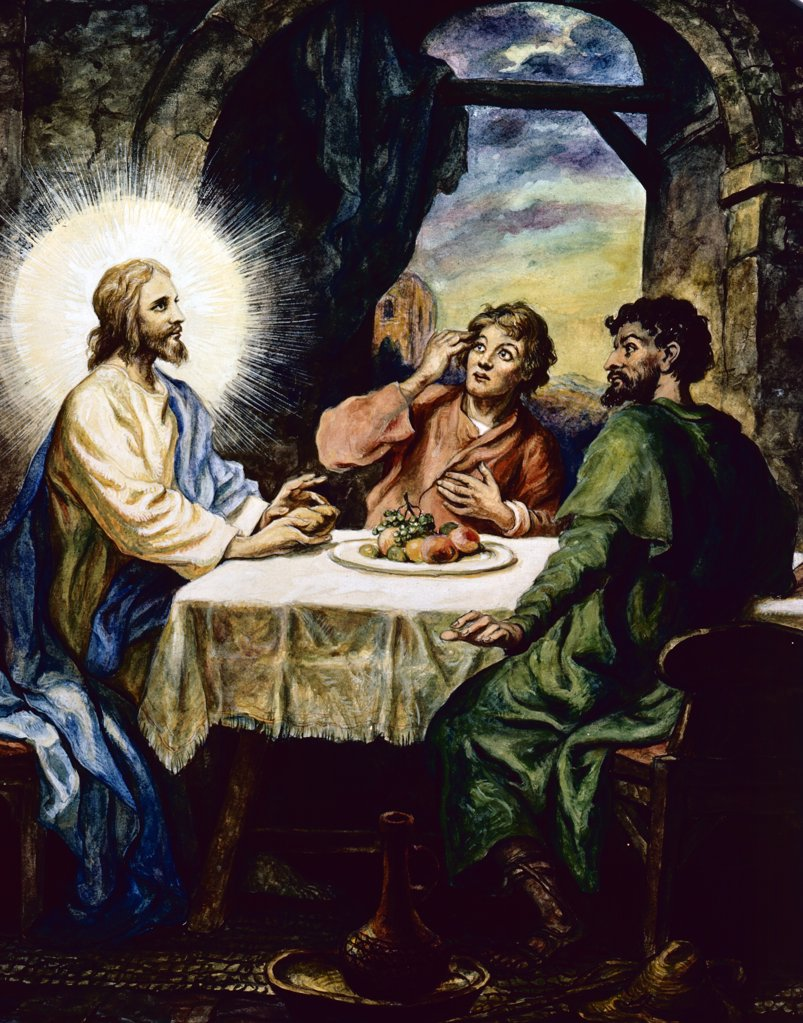 Supper at Emmaus by Bernhard Beseler,  19th Century : Stock Photo