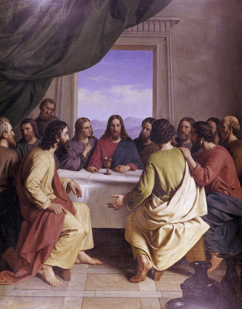 Stock Photo: 900-1884 The Last Supper 19th C. Andreas Herman Hunaeus (1814-1866 Danish) Oil on canvas