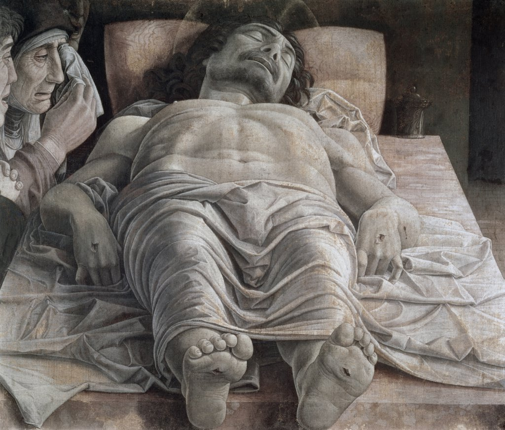The Dead Christ Aftr 1466 Andrea Mantegna (1431-1506 Italian) Distemper On Canvas Pinacoteca di Brera, Milan, Italy : Stock Photo