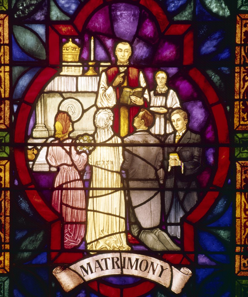 Stock Photo: 900-21116 USA,  New York City,  Our Lady of Pompeii Church,  Stained glass depicting matrimony