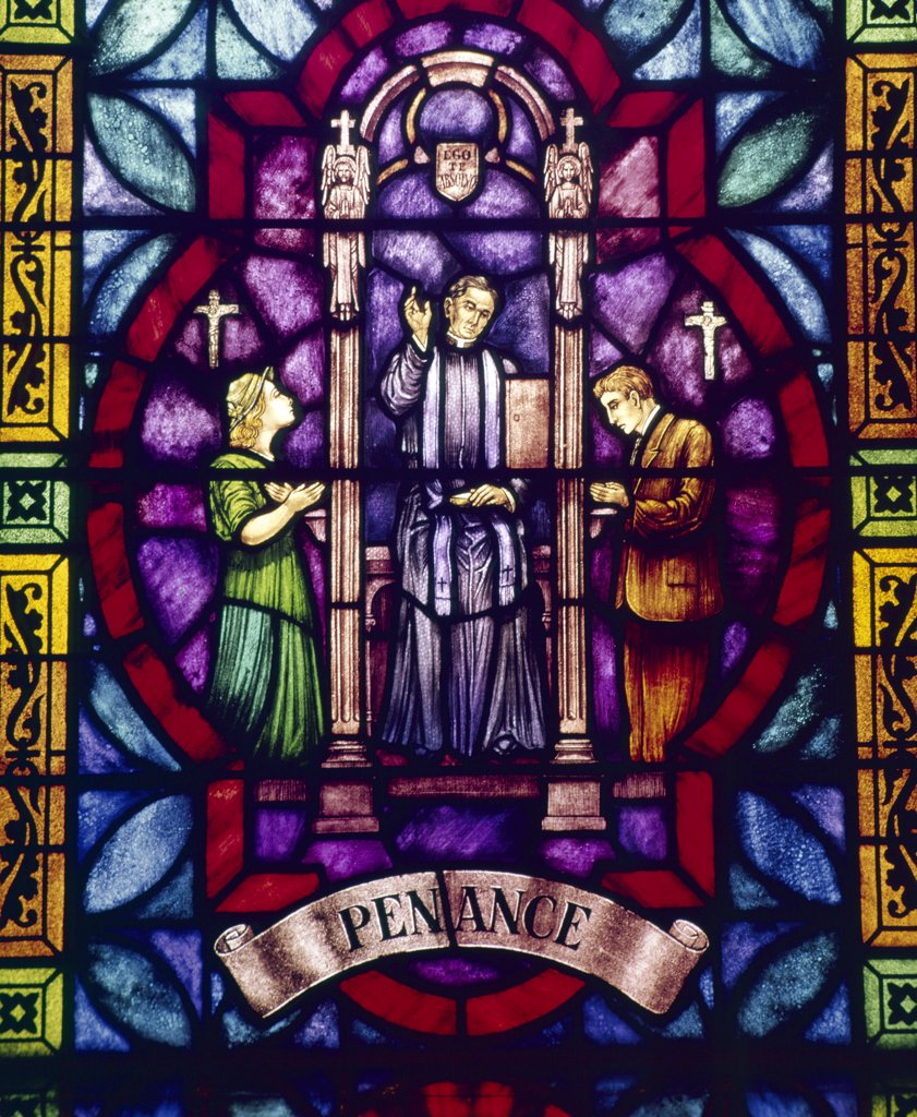 Stock Photo: 900-21121 USA,  New York City,  Our Lady of Pompeii Church,  Stained glass with Penance